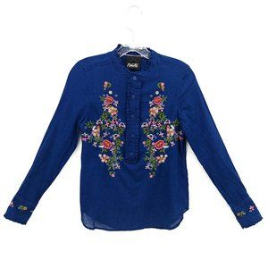 Nanette Lepore Embroidered Chambray Popover Blouse